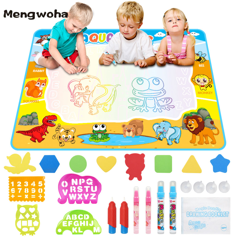 Large Bize Water Colorful Drawing Mat Painting Writing Mat Doodle WIth Pens Educational Toys For Children Rug Xmas Gift 110x90cm