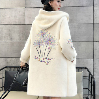 Women Cardigans Mink Cashmere Sweater Autumn Winter Medium Length Sweaters Tops High Quality Cardigans Coat With Cap and Pocket фото
