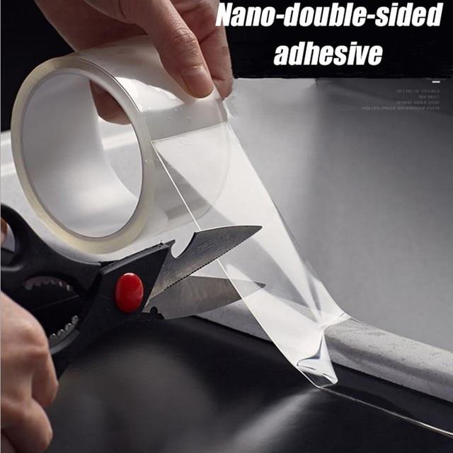 투명한 방수 테이프 추적없이 수천 번 씻어 매직 스티커 나노 양면 접착 가정용