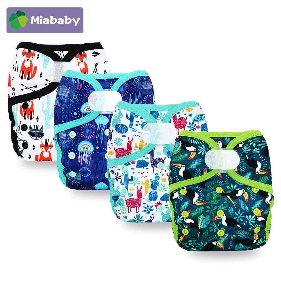 Miababy 1 шт., один размер, детские тканевые подгузники, моющиеся подгузники, водонепроницаемые и дышащие тканевые подгузники, детские подгузни...
