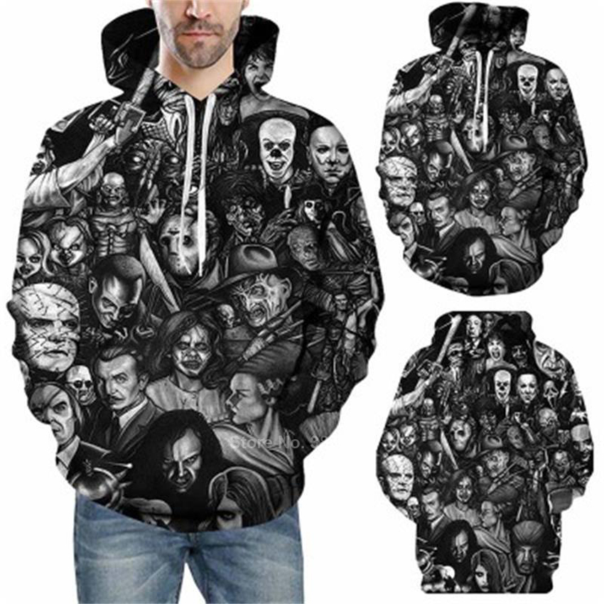 Halloween Men 3d Skull Hoodies Hip Hop Streetwear Hooded Women's Cosplay Sweatshirts Scary Ghost Hoody Horror Pullover Hoddies