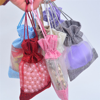20pcs/lot Drawstring Jewelry Bag Linen Drawstring Gift Bags Multi Color Party Favor Pouches Small Candy Bags Bracelet Bag