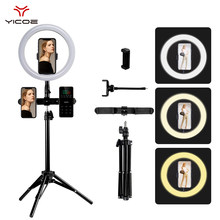 "10""LED Selfie Ring Light With Tripod Stand Photo Studio Light 3 - Phone Holder USB Make Up Youtube Ring Lamps Photography Light(China)"