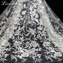 1yard polyester Sequined single side positioning embroidered flower lace fabric / close-fitting wedding