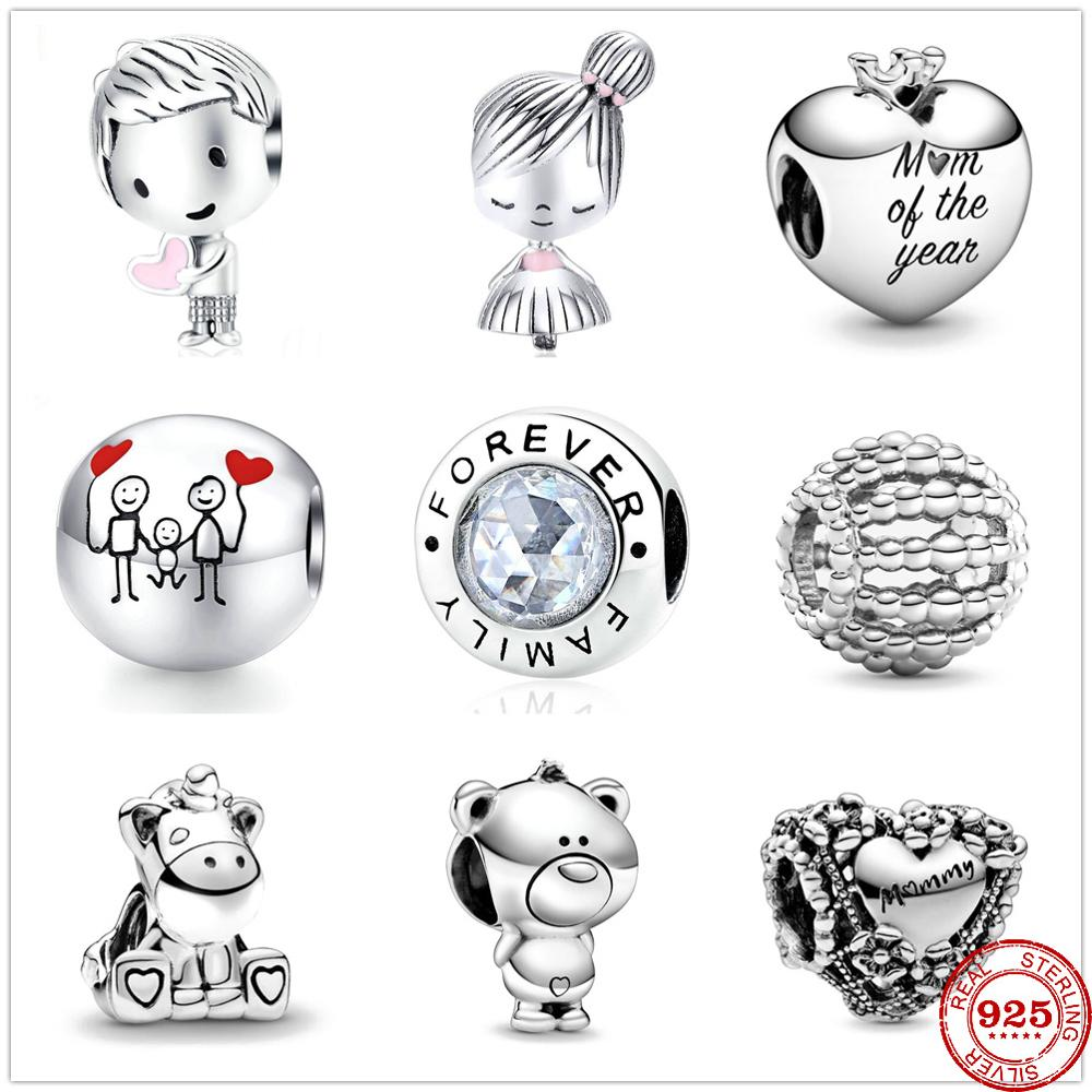 2020 New boy girl unicorn bear family flower heart mummy cham beads fit original pandora charms silver 925 bracelet Berloque(China)