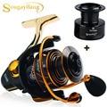 Sougayilang Рыболовная катушка 13 + 1BB 5 0: 1  тихий привод  мощная тормозная система  катушки для спиннинга с бесплатной запасной катушкой