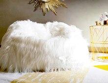 Funda de PUF de bolsa de lana de piel esponjosa, sin relleno, sofá, silla de sofá Lazy, utilería de espectáculo Chico, taburete de Festival de fiesta para bebé
