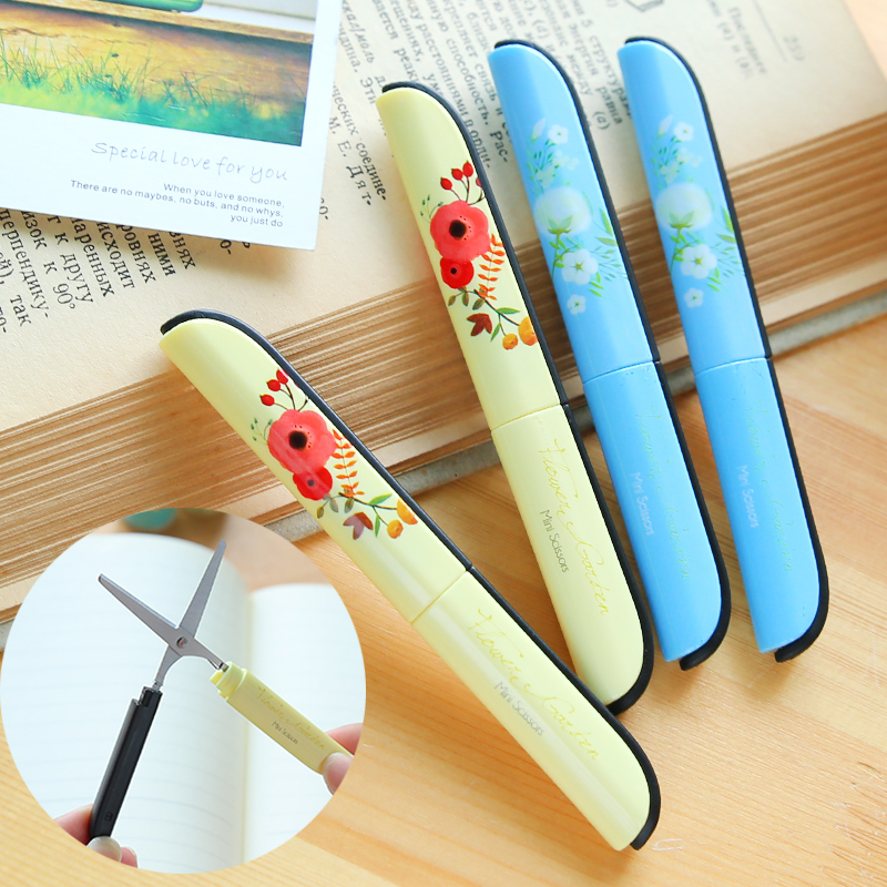 [Deli] (2 Pieces/Lot) Kawaii Flower Folding Office School Scissors For DIY Scrapbooking Portable Craft Paper Cutter No.6000