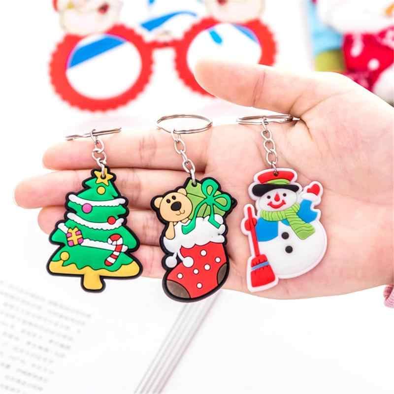 Natal Kartun Santa Claus Snowman Gantungan Kunci Pohon Ornamen Menggantung Tas Liontin Tahun Baru Hadiah