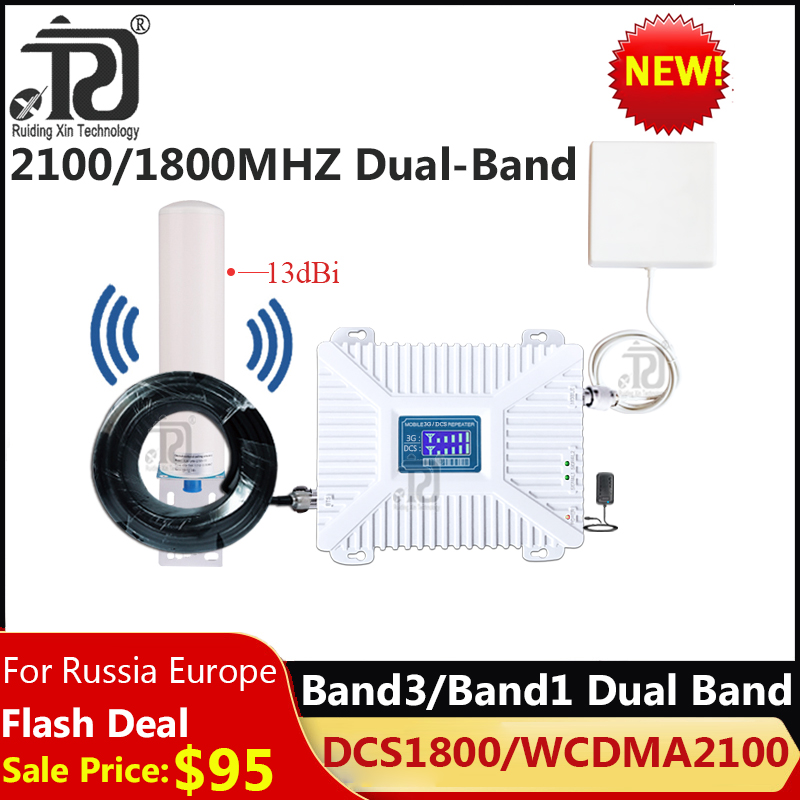 2019 New!! Dual-Band 1800/2100mhz Cellular Amplifier DCS WCDMA 2G 3G 4G Mobile Signal Booster GSM Repeater 2g 3g 4g