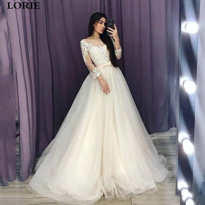 LORIE A Line Wedding Dresses 3/4 Long Sleeve Lace Princess Bride Gowns  Vestidos De Novia Custom Made