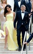 Длинное платье на одно плечо из шифона желтый знаменитости вдохновение