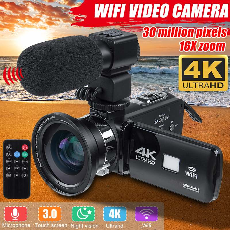 Professional 4k Wifi Hd Camcorder Video Camera Night Vision 3 Inch Lcd Touch Screen 16x Digital Zoom Camera With Microphone Lens Evident Effect