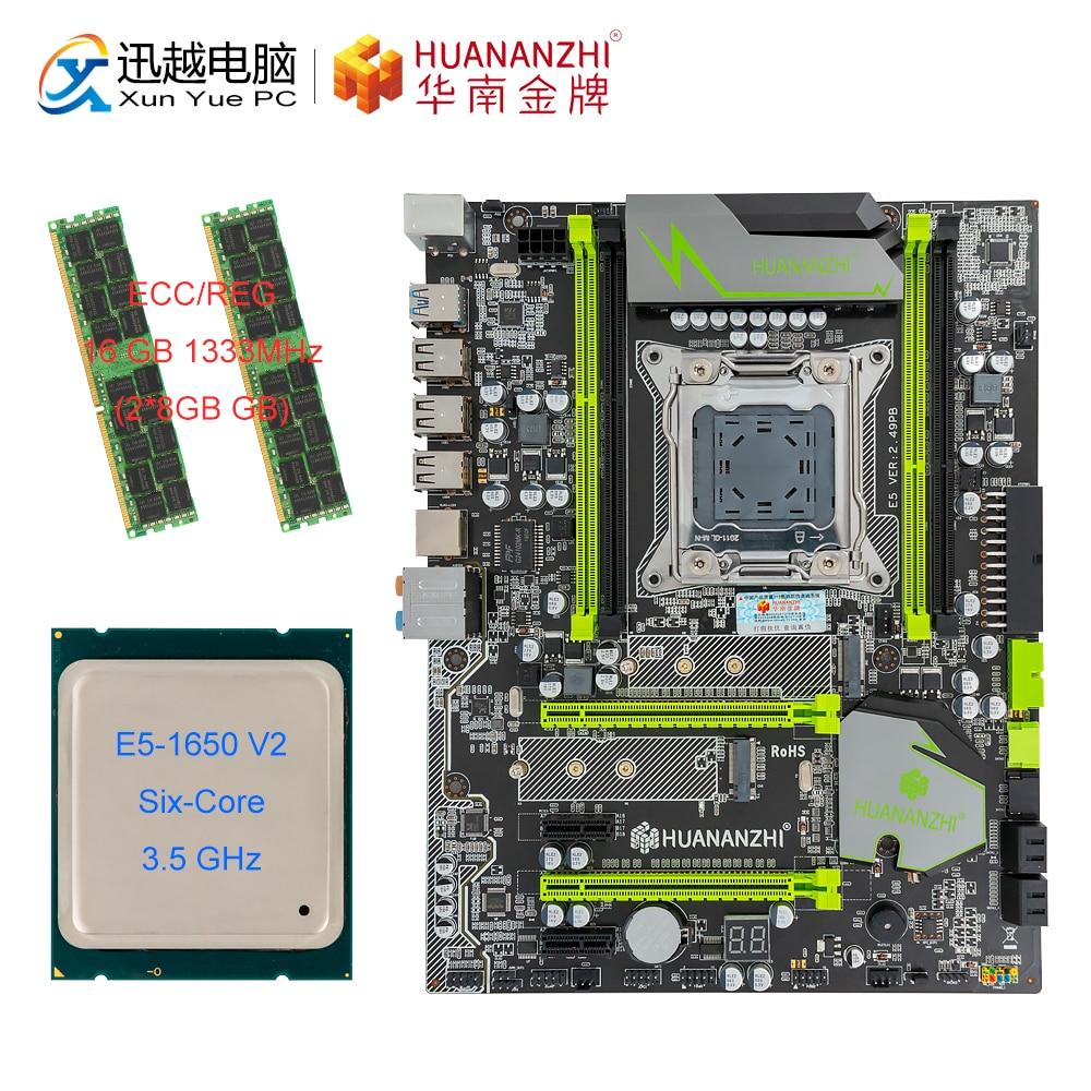 HUANAN ZHI X79 V 2.49 PB carte mère M.2 NVME ATX ensemble avec Intel Xeon E5 2689 2.5GHz CPU 2*8GB (16 GB) DDR3 1333MHZ RECC RAM