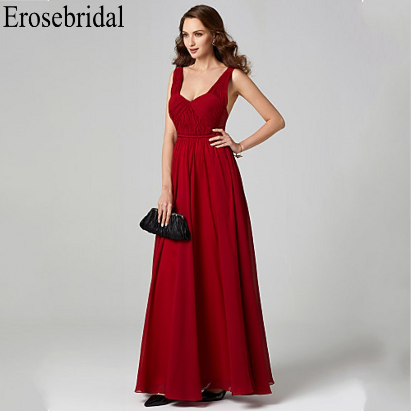 Erosebridal Red Evening Dress Party Long Chiffon Long Formal Dresses Evening Gown Sexy Open Back Occasion Dresses For Women