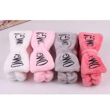 Letter Coral Fleece Wash Face Bow Hairbands