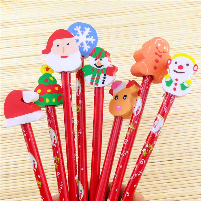 10pc Christmas Series Wood Pencil Eraser Pencil Standard Student Learning Stationery School Office Supplies Gift For Children