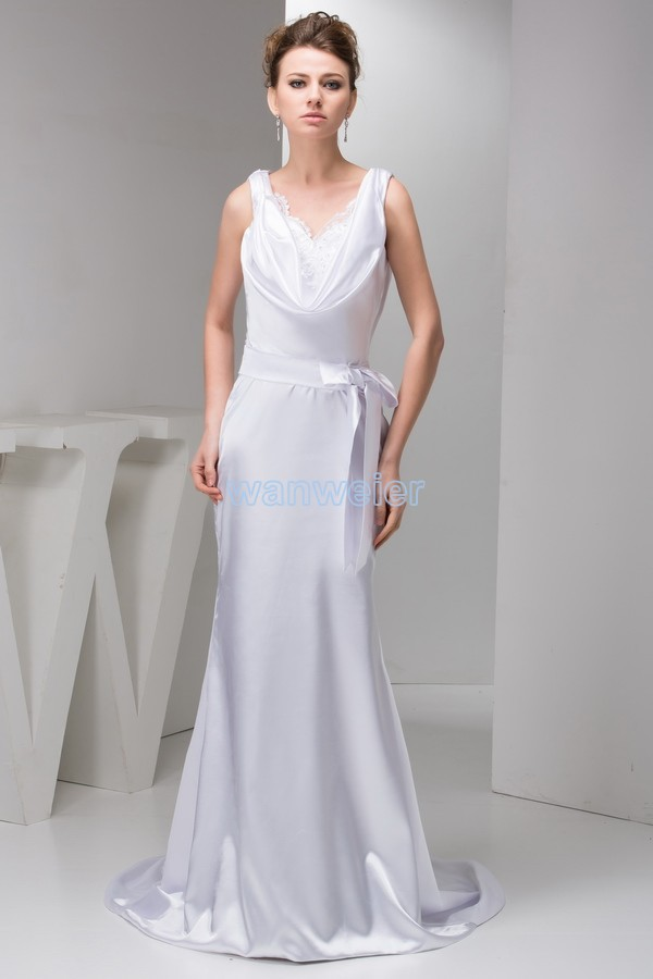Free Shipping 2016 New Design Gown Brides Maid Dress Hot Seller V-neck Small Train Formale White Custom Size/color Evening Dress