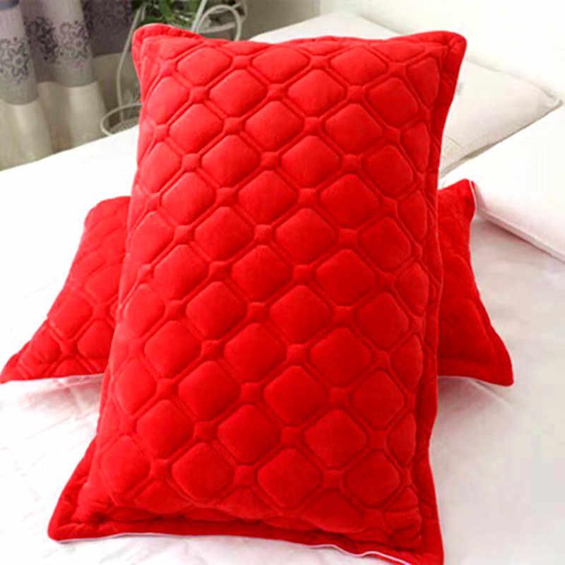1 adet/2 adet flanel polar mercan yastık kapak yatak sıcak ve rahat ev dekorasyon yastık kılıfı kapakları
