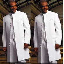 White Long Coat Groom Tuxedos Groomaman Blazer High Quality Men's Wedding Dress Prom Clothing Business Suits (Jacket+Pants+Vest)(China)