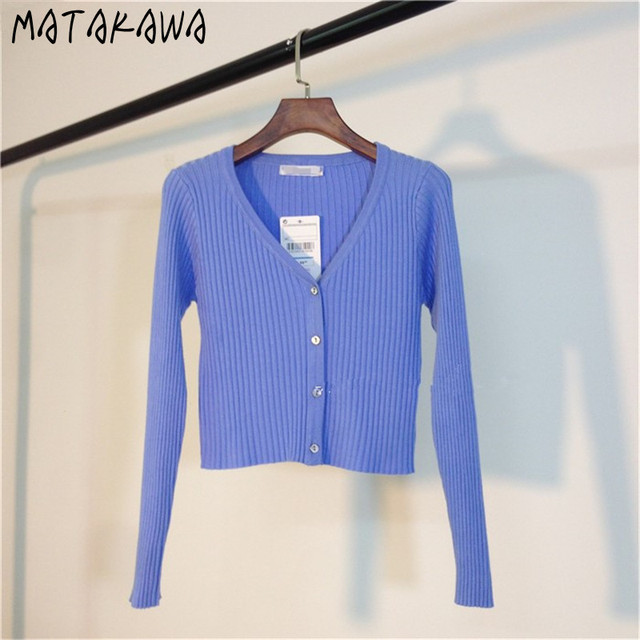 MATAKAWA Sexy Long Sleeve Buttons Women's Sweater Patchwork  2020 Fashion Ribbed  Slim Sweaters Ladies Knitted Cardigan 5