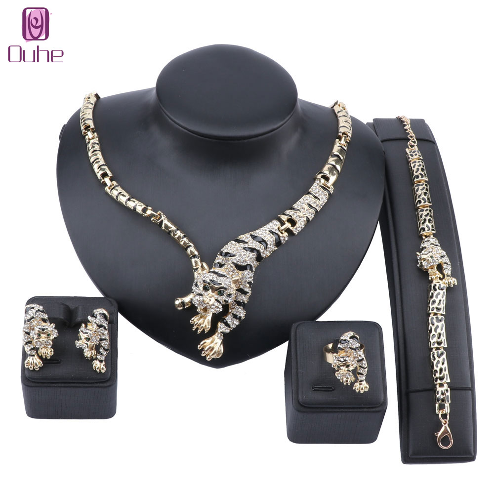 Exquisite Dubai Gold Tiger Crystal Jewelry Set Luxury Nigerian Woman Wedding Costume Design Necklace Earring Ring Bracelet Set image