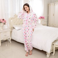Adults Women Christmas Onesie Hoodie Star Printing Polyester Flannel Jumpsuit Pajamas Winter Flannel Long Sleeve Pink Sleepwear