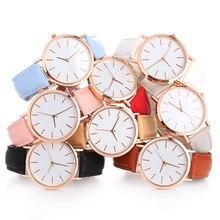 Женские часы модные розовое золото минимализм простой кожаный ремешок Кварцевые аналоговые наручные часы Роскошные женские повседневные часы# c