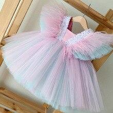 Одежда для малышей с треугольным вырезом Детская подростков праздничное платье для бала, летние свадебные туфли радужной расцветки с пайет...