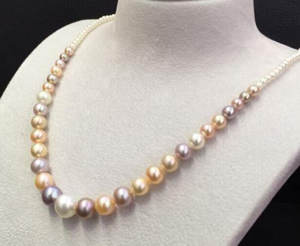 18 zoll 8 11MM südsee natürliche runde multicolor perle halskette 925 silber