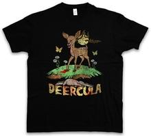 купить Deercula T Shirt Deer Fun Dracula Vampire Bat Zombie Splatter Blood Bambi дешево