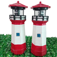 Large Solar Powered Lighthouse Rotating LED Bulb Garden Ornament Patio Beacon Tower Light