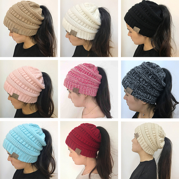 20 Colors Ponytail Beanie Women Stretch Knitted Crochet Beanies Winter Hats For Women Hats Cap Warm Lady Messy Bun Wholesale