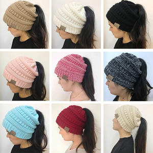 Ponytail Beanie Cap Warm Winter Hats Messy Bun Knitted Wholesale 20-Colors Women Lady