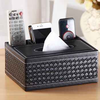 PU Leather Tissue Box Cover Desk Makeup Cosmetic Organizer Remote Controller Phone Holder Home Office Tissue Paper Napkin Box 1