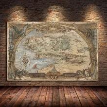 Affiches et imprimés de Film de carte du milieu, Film de seigneur des anneaux, images artistiques classiques sur toile à l'huile, peinture murale pour salon