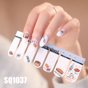 Image 4 - 14tips/sheet Korean Version Multicolor  Stickers Nail Wraps Full Cover Nail Polish Sticker DIY Adhesive Nail Art Decoration