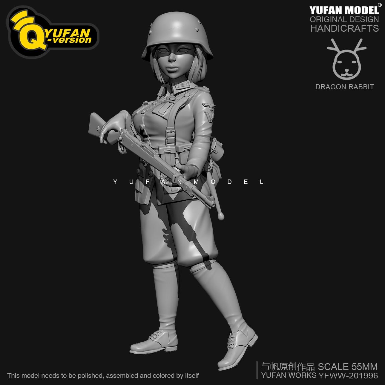 H55mm Resin Figure KitsYufan Model Q Version Resin Female Soldier Self-assembled YFWW35-2058