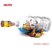 Anime One Piece Thousand Sunny Pirate Ship in Bottle Building Blocks Kit Bricks Classic Movie Model Kids Toys For Children Gift in stock lepin 22001 pirates series the imperial flagship model building blocks set pirate ship toys for children 10210