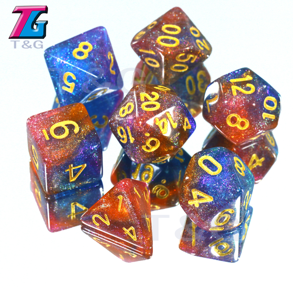 New Arrival!! New Colorful Universe Galaxy Dice Set Of D4-D20 With Bag Shinny Effectt Cool For DND RPG Boardgame Party Gift