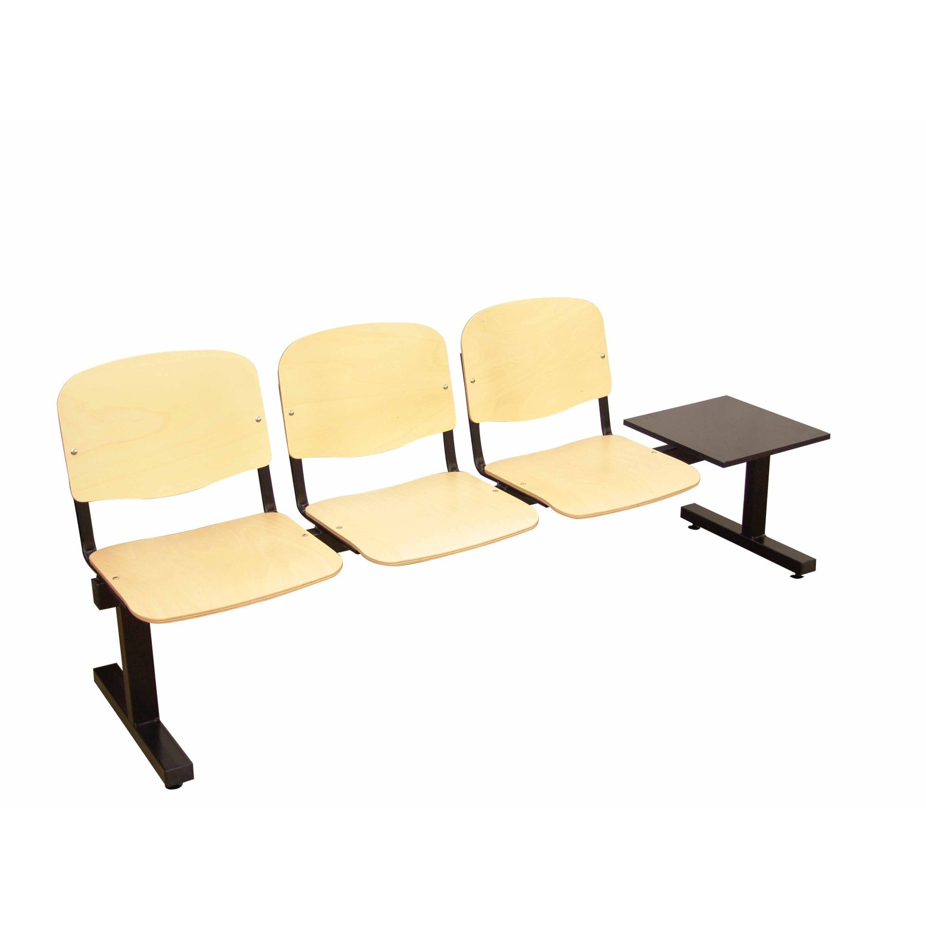 Bed Standby Three Seater With Table And Iron Frame In Black Color Seat And Back WOOD Beech Color