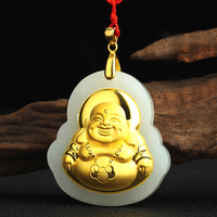 Natural Chinese Hetian White Jade Pendant Buddha Mosaic Gold Beautiful Jewelry Necklace Carved Fashion Charm Lucky Amulet Gifts