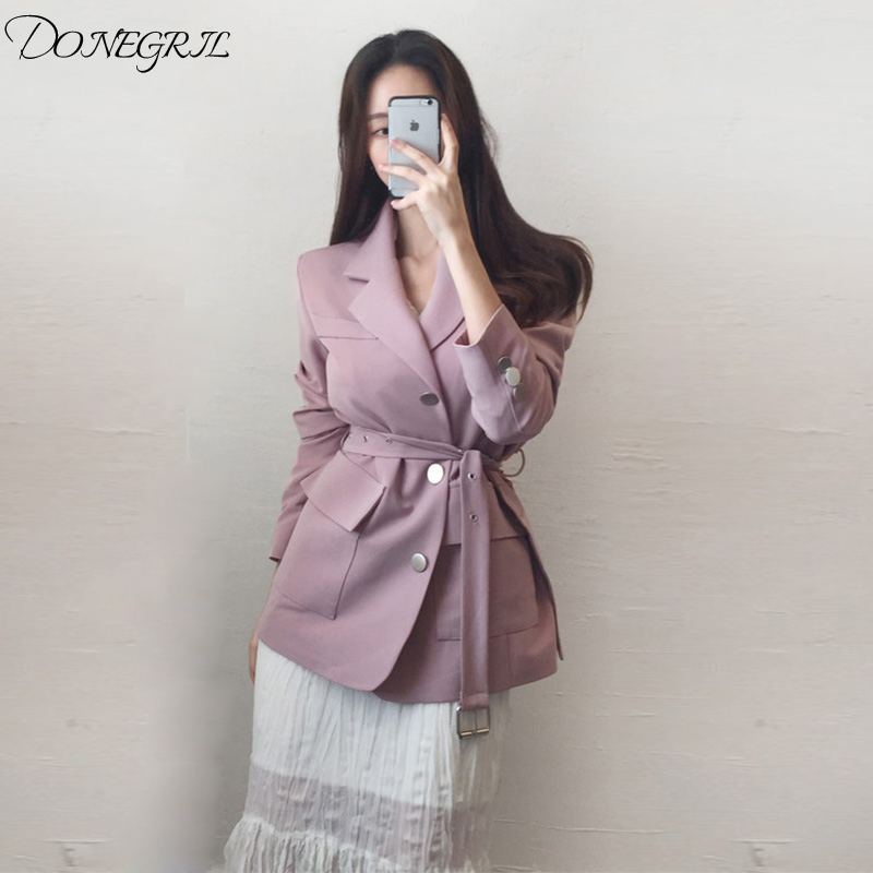 Women's Suit Jacket New Korean 2019 Spring And Autumn Long-sleeved Blazer Suit Coat Solid Color Single-row Buttons Jackets