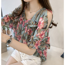 Sweet Women Blouses Shirts Leisure Tops Flare Sleeve Summer Print Blouse Sexy Off Shoulder Chiffon Shirt Ladies Plus Size 4XL casual off the shoulder print flare sleeve blouse for women