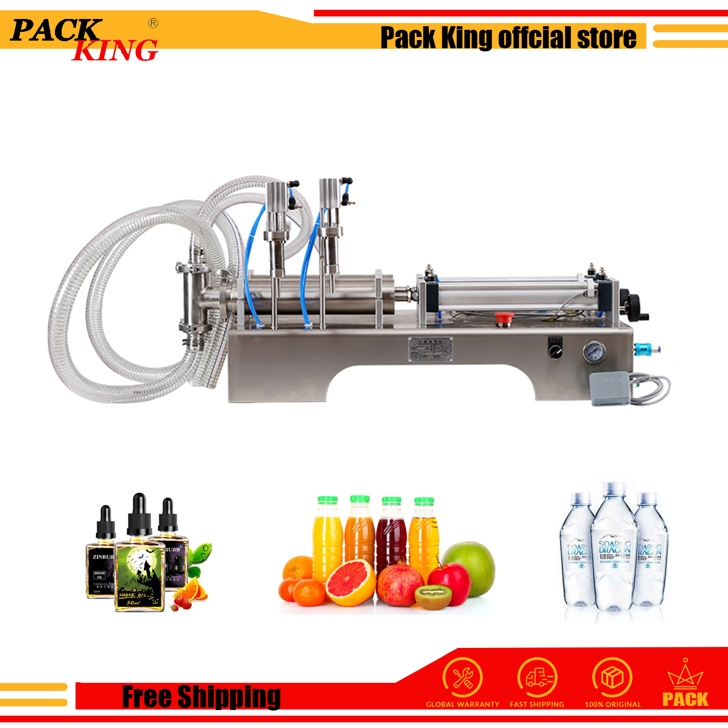 Liquid Filling Machine Pneumatic 316 Stainless Steel Double Heads Shampoo Water Oil Semi Auto Filler Food Safe Free Shipping
