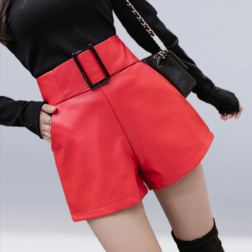 Women Fuax Leather Wide Leg Shorts Female Autumn Winter 2019 New High Waist PU Leather Shorts Fashion Loose Casual Shorts Girls