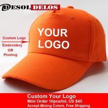 10 Pcs Custom Cotton Baseball Cap Print Logo Text Photo Embroidery Gorra Casual Solid Hats Snapback Caps For Men Women