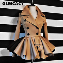 Women Autumn Winter Double Breasted Thick Jacket Tops Classy Office Ladies Workwear Chic Streetwear Steampunk Coats cheap GLMCACY Solid Full OBLN133 Turn-down Collar Slim Button Broadcloth Long Polyester