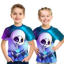 T-shirt à manches courtes pour enfant, humoristique, avec dessin animé Undertale sans dessin animé imprimé en 3D
