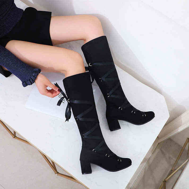 Odetina แฟชั่น Women Chunky Block รองเท้าส้นสูงลูกวัวกลางรองเท้าข้ามผูก Riband Lace Up Elegant ฤดูหนาวรองเท้าบูทรอบ Toe big Size 43